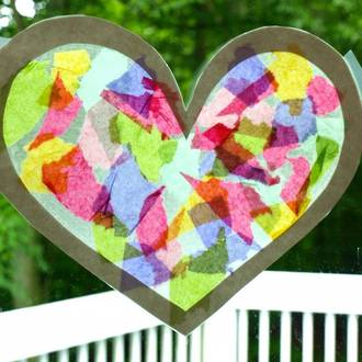 Make your own Valentine's Day suncatchers
