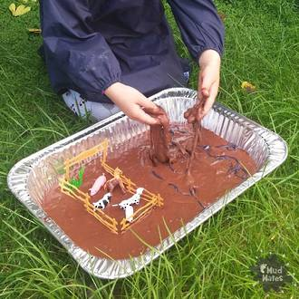 Edible mud sensory play activity