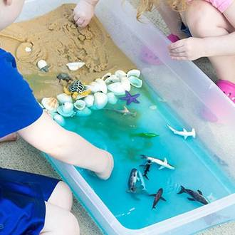 Sand and water sensory play activity