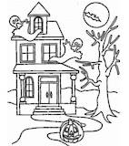 Halloween Haunted House Colouring Sheet