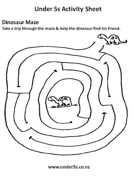 Dinosaur+Maze+Activity+Sheet on Printable Worksheets For Pre Bee