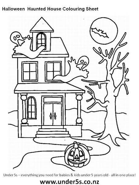 halloween haunted house colouring sheet - Drawing Sheet For Kids