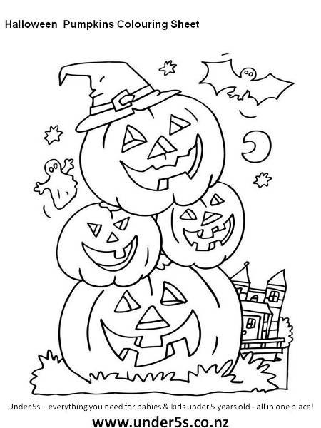 free printable halloween pumpkins colouring sheet for kids