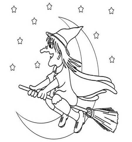 Free printable Halloween Witch Colouring Sheet for Kids