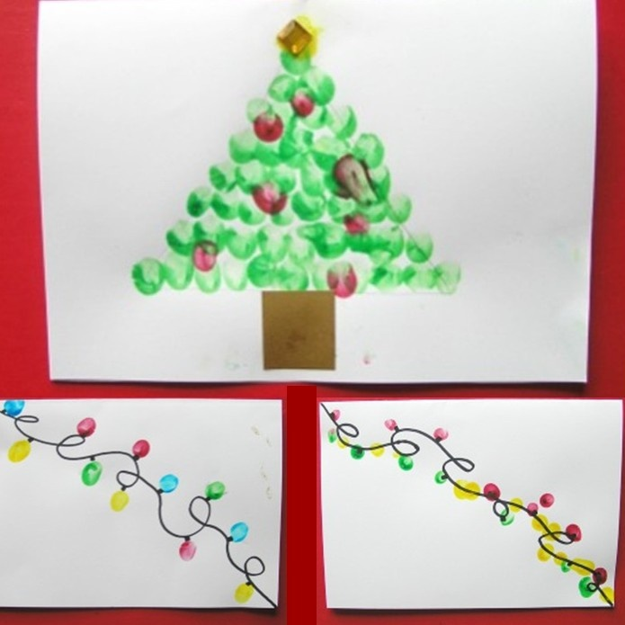 How to make your own fingerprint christmas cards with the kids for How to make your own christmas cards